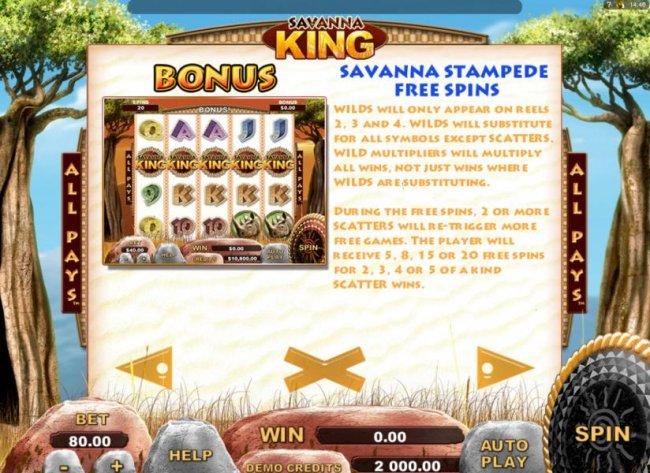 Savanna Stampede Free Spins Bonus Feature Rules - continued - Free Slots 247