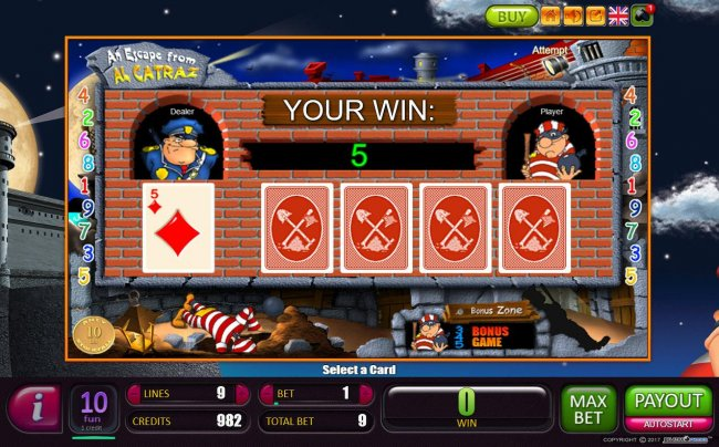 Beat The Dealer - Double or Nothing Gamble Feature Game Board - Select a card that is higher than the dealers for a chance to double your winnings. by Free Slots 247