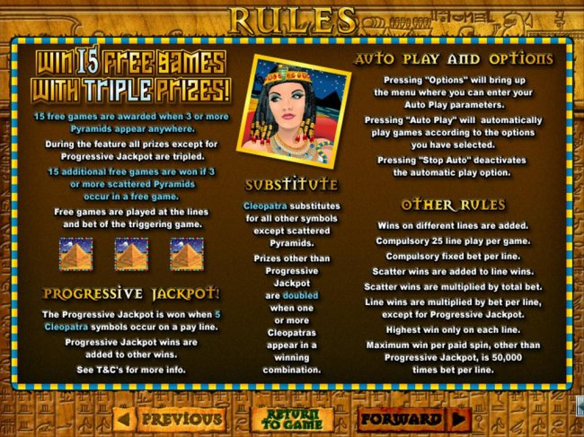 Win 15 free games with triple prizes! Cleopatra substitutes for all other symbols except scattered pyramids.  Progressive Jackpot is won when 5 Cleopatra symbols occur on a payline. by Free Slots 247