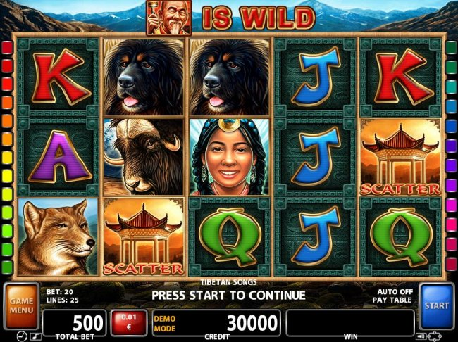 Free Slots 247 - An Asian themed main game board featuring five reels and 25 paylines with a $25,000 max payout