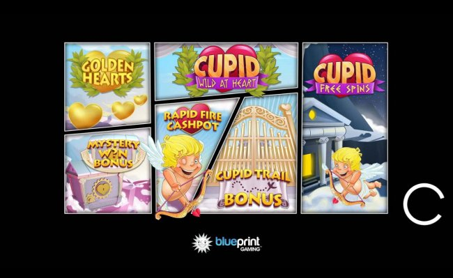 Free Slots 247 - Game features include: Golden Hearts, Cupid Free Spins, Mystery Win Bonus, Rapid Fire Cashpot and Cupid Trail Bonus.