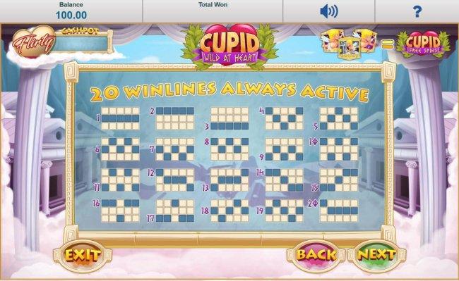 Free Slots 247 - Payline Diagrams 1-20. 20 Winlines always active.