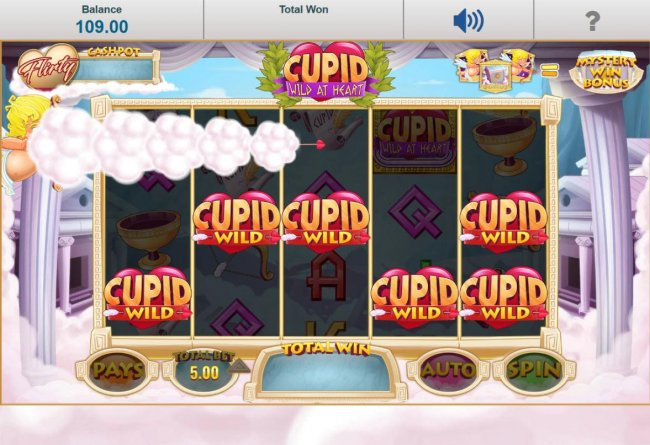 Free Slots 247 - Cupid ranomdly chaning symbols into wilds.