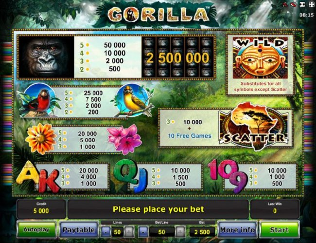 Free Slots 247 - Slot game symbols paytable - high value symbols include a gorilla, a red bird and a yellow bird.