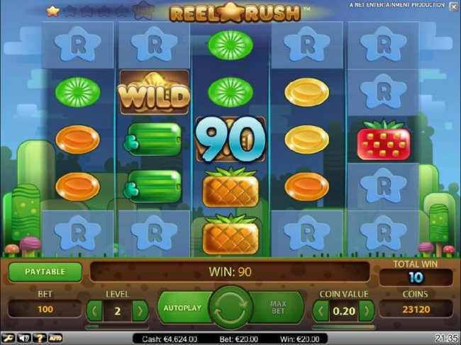 Free Slots 247 - re-spin feature triggers a 90 coin payout and additonal reel positions are uncovered for another re-spin.