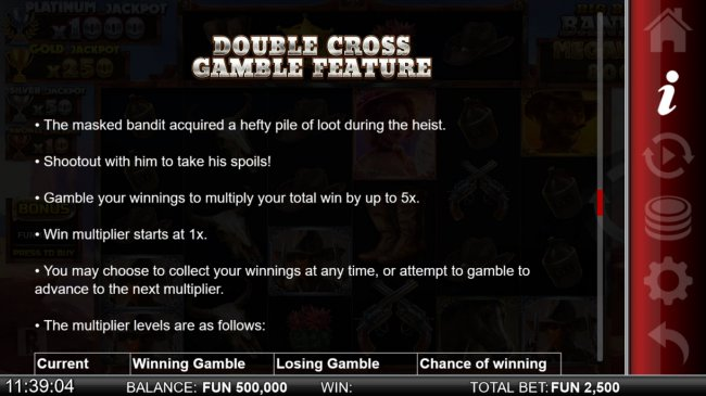Double Cross Gamble Feature - Free Slots 247