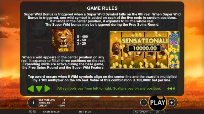 Free Slots 247 - Wild symbol paytable - When wild appears in the center position on any reel, it expands to fill all three positions on the reel. Expanding wilds are active during base game, the free spins and super wild feature.