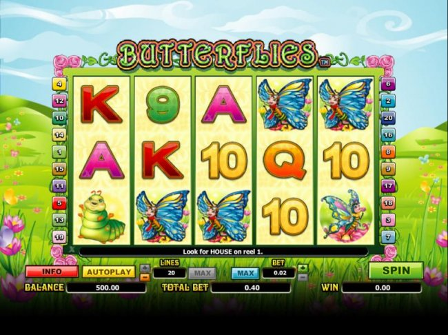 main game board featuring five reels and twenty paylines by Free Slots 247