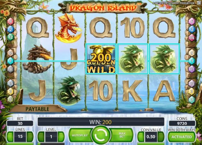 Free Slots 247 - golden wild combines with two dragon symbols to trigger a 200 coin payout