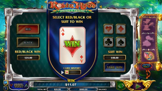 Gamble Feature is available after any winning spins. Select Red/Black or Suit to win. by Free Slots 247