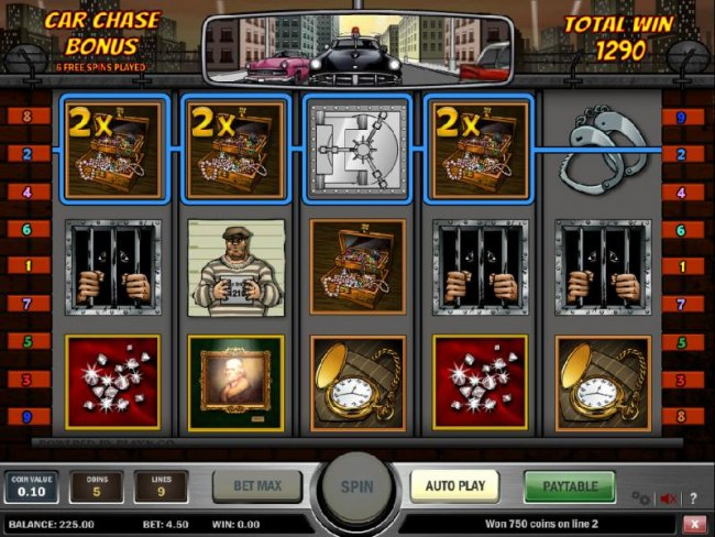 Free Slots 247 - here is an example of a four of a kind with a 2x multiplier triggering a big win jackpot during the car chase bonus feature