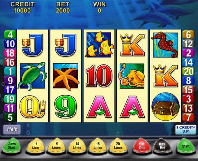 Main game board featuring five reels and 20 paylines with a $27,000 max payout - Free Slots 247