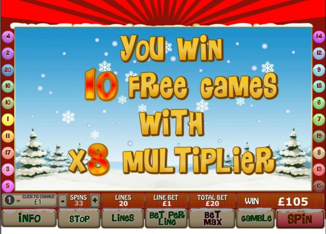 10 free games with x3 multiplier are awarded by Free Slots 247
