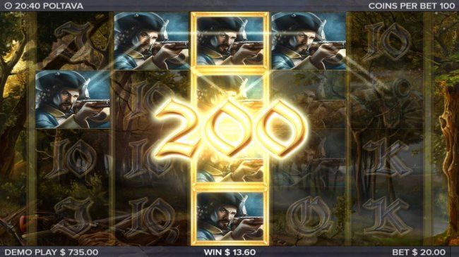 Multiple winning paylines trigger a 200 coin award and Marching Reels - Free Slots 247