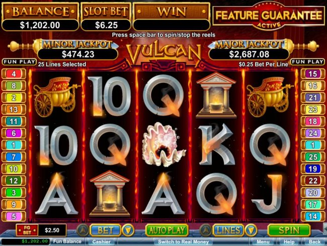 A Roman themed main game board featuring five reels and 25 paylines with a $750,000 max payout - Free Slots 247