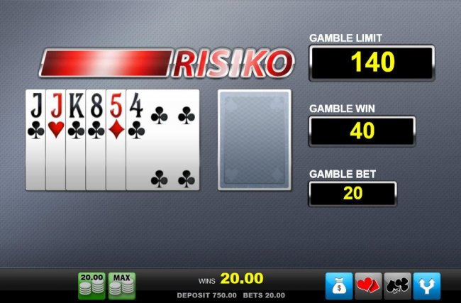 Risiko Gamble Feature - choose the color of the next card drawn. You can bet on red or black with the corresponding buttons. - Free Slots 247
