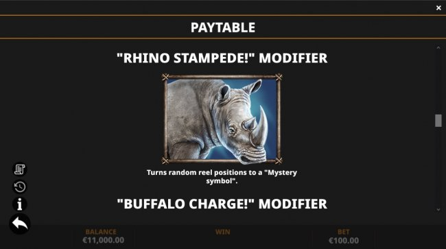 Rhino Stampede Modifier by Free Slots 247