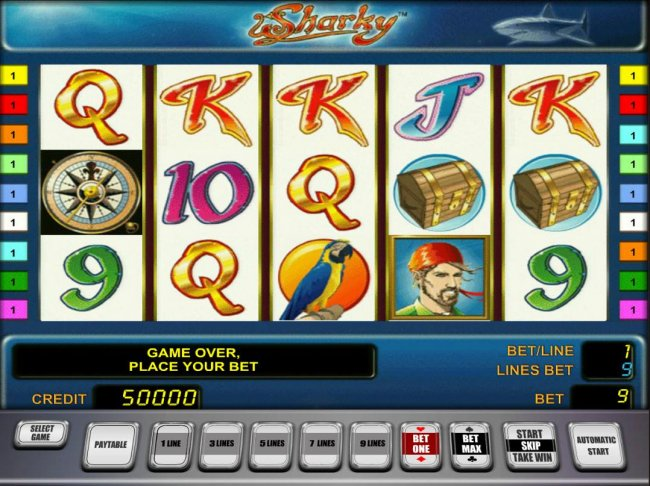 Main game board featuring five reels and 9 paylines with a $500,000 max payout by Free Slots 247