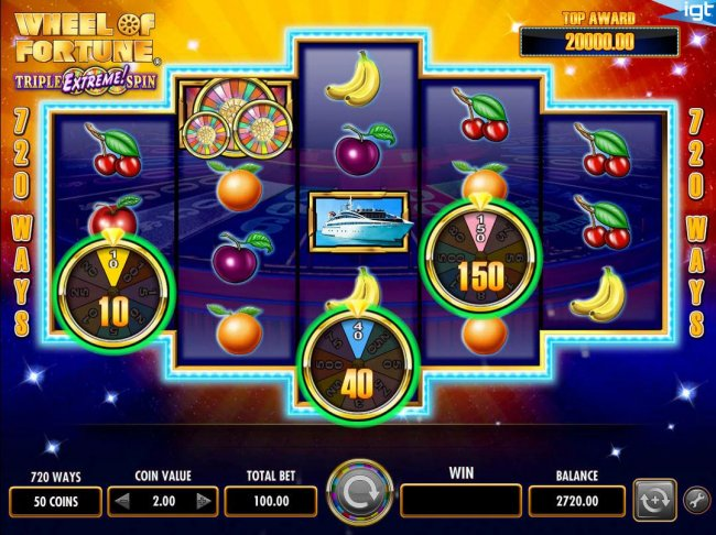 Collect prize awards after wheels stop spiining. by Free Slots 247
