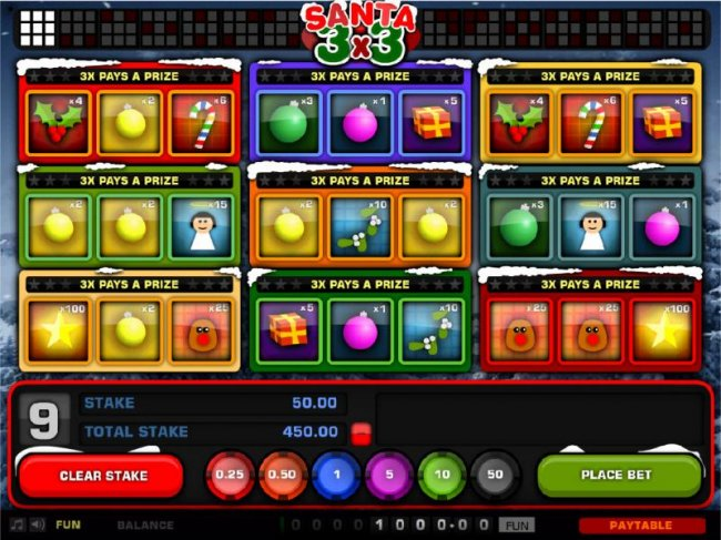 Free Slots 247 - Main game board based on a Christmas theme, featuring three reels and 9 paylines with a $250 max payout