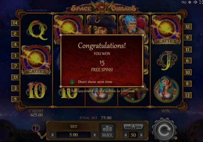 Free Spins feature triggered and awards player with 15 free games. - Free Slots 247