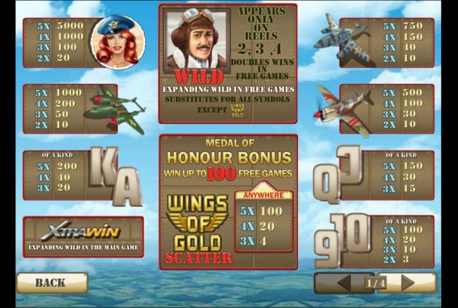 Free Slots 247 - 3 or more wings of gold symbols anywhere triggers medal of honour bonus feature