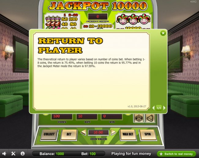 Return to Player 95.77 by Free Slots 247