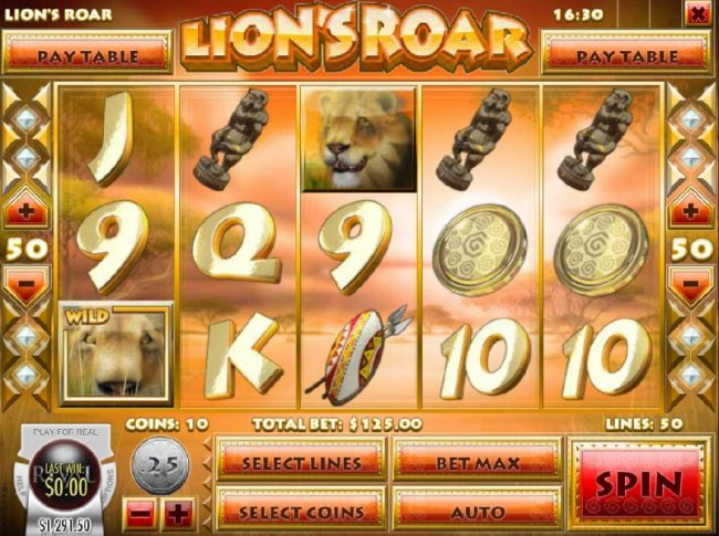 Main game board featuring five reels and 50 paylines with a $7,500 max payout by Free Slots 247