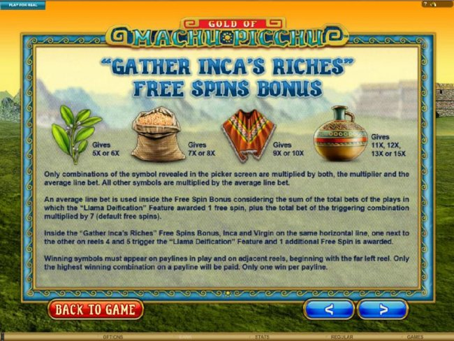 Free Slots 247 - Gather Inca's Riches Free Spins Bonus Rules
