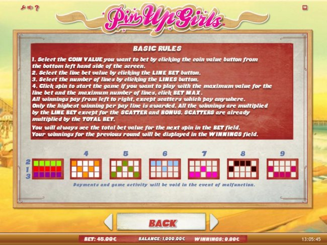 General Game Rules and Payline Diagrams 1-9 by Free Slots 247