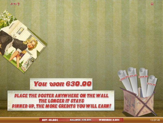 Place the poster anywhere on the wall, the longer it stays pinned up, the more credits you will earn! by Free Slots 247