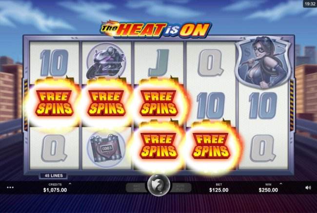 Free Slots 247 - Five scatter symbols landing on adjacent reels starting with the leftmost reel triggers the Free spins feature.