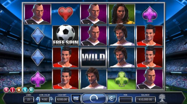 Free Slots 247 - Main game board featuring five reels and 25 paylines with a $4,000 max payout