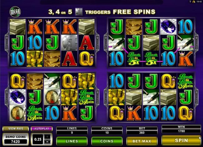 Four of a kond with 5x multiplier trigges a 1780 coin Big Win!a by Free Slots 247