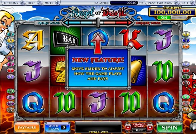 New feature, move slider to adjust how the game plays and pays - Free Slots 247