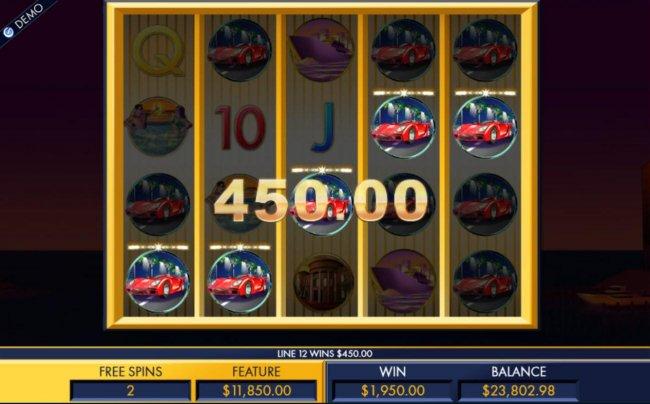 Multiple winning combinations triggered during the free spins feature produce a 1,950.00 payout. - Free Slots 247