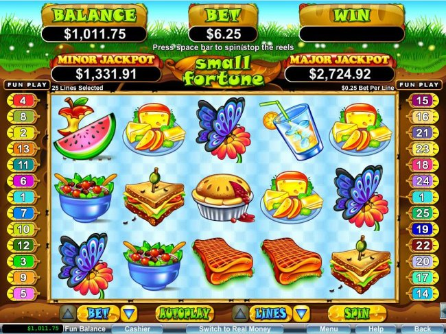 A picnic themed main game board featuring five reels and 25 paylines with a $250,000 max payout - Free Slots 247