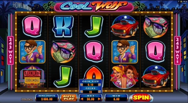 Main game board featuring five reels and 243 ways to win by Free Slots 247