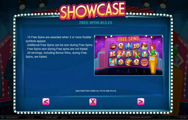 Free Spins Rules - 15 free spins are awarded when 3 or more scatter symbols appear. by Free Slots 247