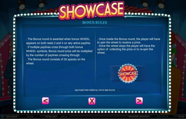 Bonus Rules - The bonus round is awarded when bonus wheel appears on both reels 2 and 4 on any active payline. by Free Slots 247