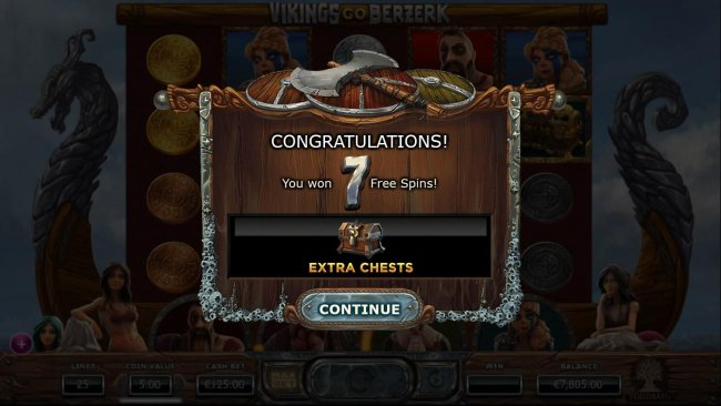 7 Free Spins awarded with Extra Treasure Chests added to the 4th and 5th reels. - Free Slots 247