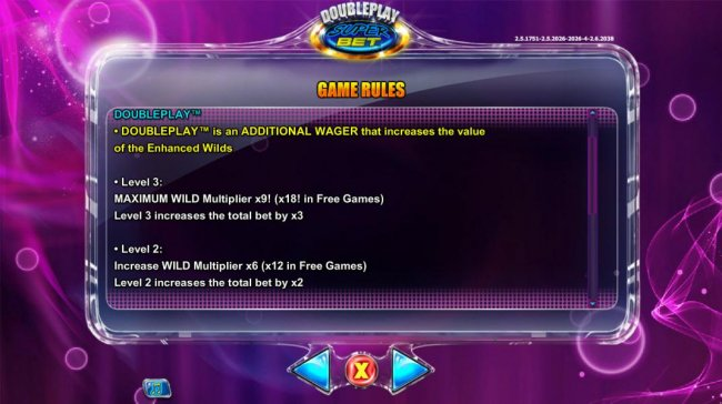 Doubleplay is an additional wager that increases the vallue of enchanced wilds. by Free Slots 247