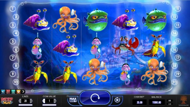 Main game board featuring five reels and 20 paylines with a $20,000 max payout - Free Slots 247