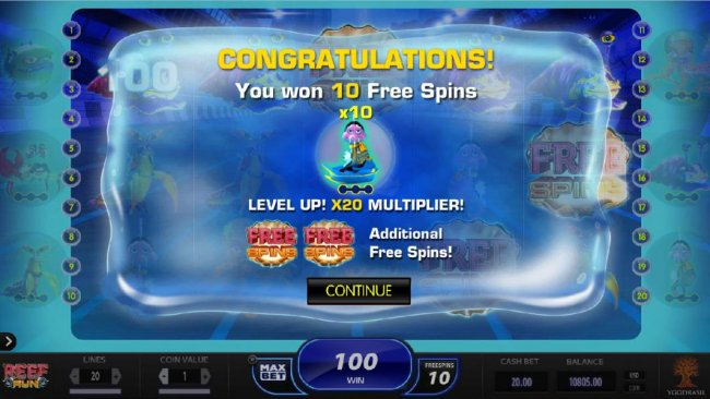 Free Slots 247 - 10 Free Spins awarded with a 10x multiplier