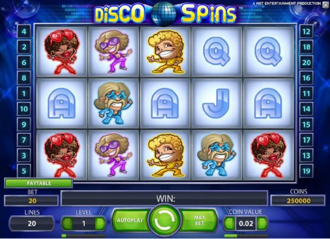 Free Slots 247 - main game board featuring five reels and twenty paylines with a chance to win up to 230000 coins