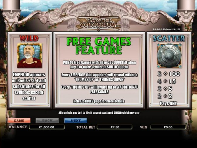 wild, scatter and free games feature paytable and rules - Free Slots 247