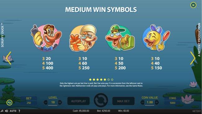 Medium Value Slot Game  Symbols Paytable. by Free Slots 247