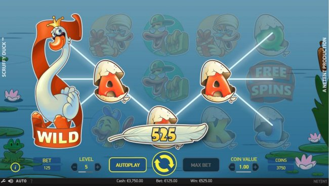 Free Slots 247 - Multiple winning paylines triggers a 525.00 big win!