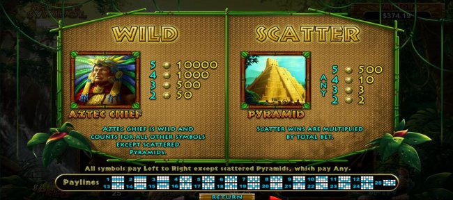 Free Slots 247 - Aztec Chief Wild and Pyramid Scatter symbols Rules and Pays.