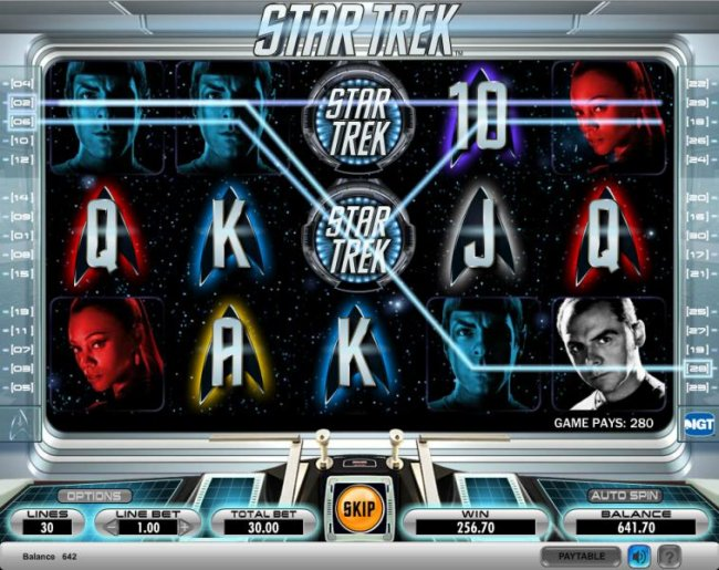 Star Trek slot game paying out 280 coin jackpot - Free Slots 247